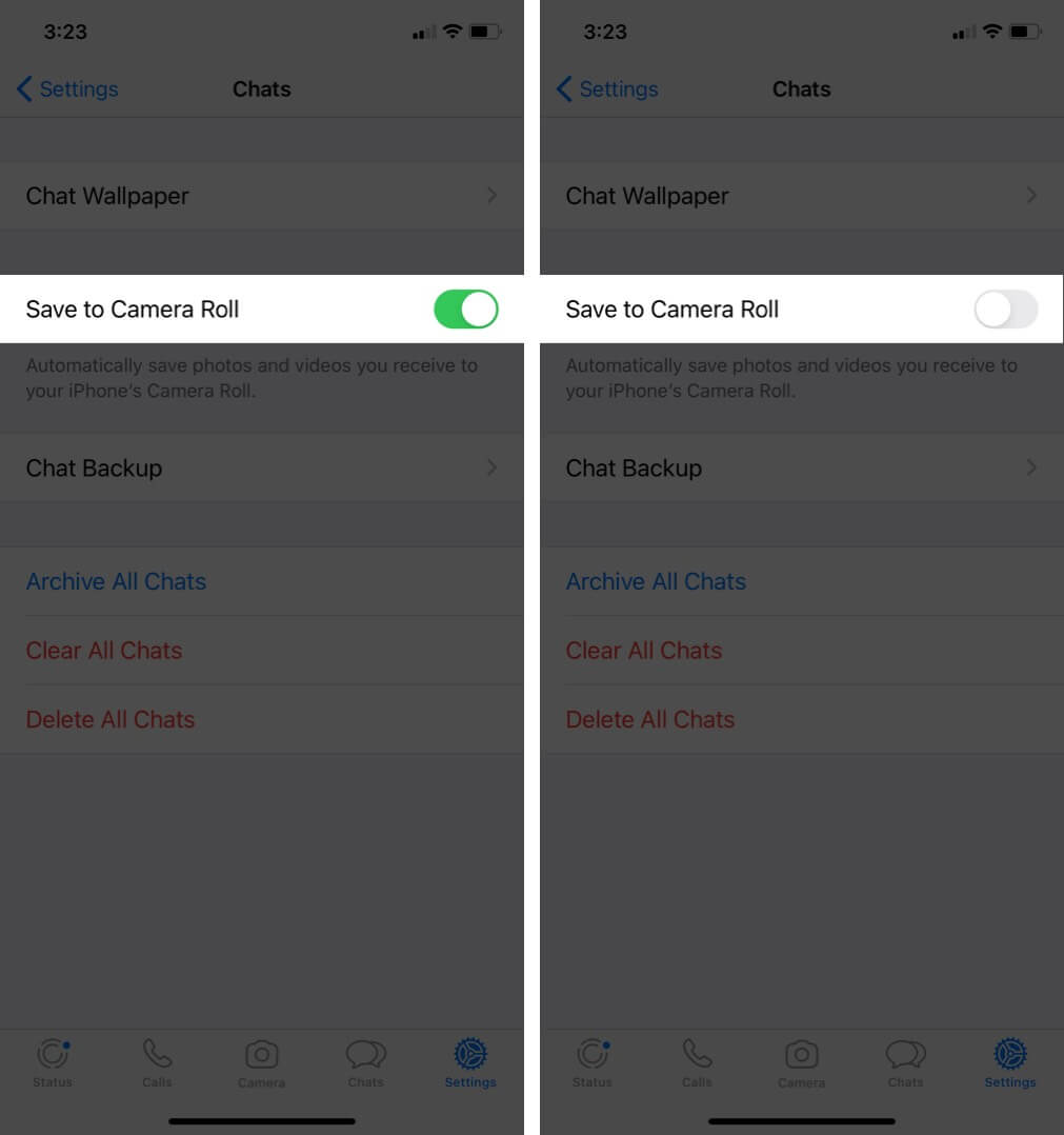 turn off save to camera roll to stop whatsapp auto-saving images and videos on iphone