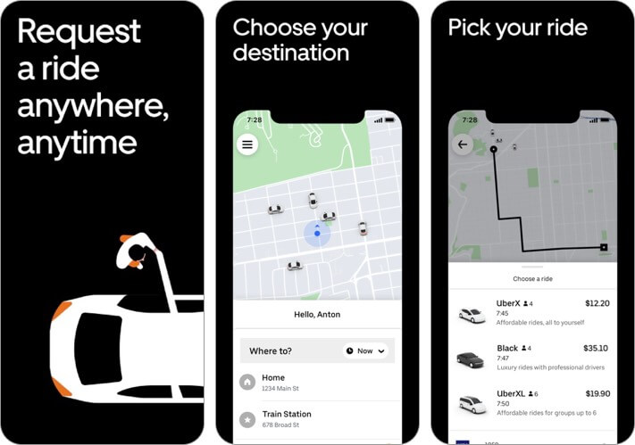 uber iphone and ipad travel app screenshot