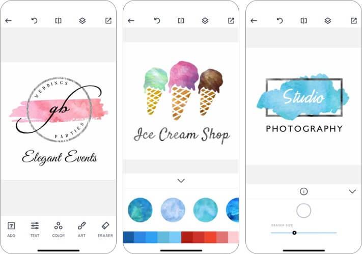 watercolor logo maker iphone and ipad app screenshot