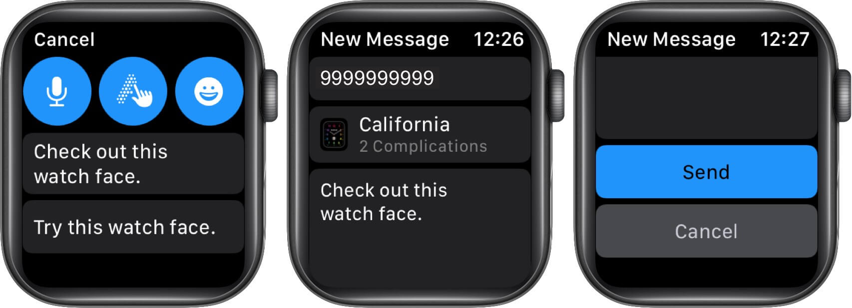 write message and tap on send to share watch face using apple watch