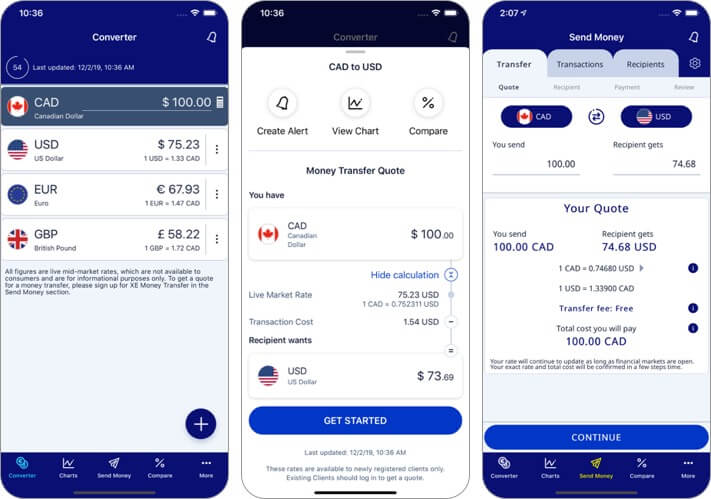 xe currency iphone and ipad app screenshot