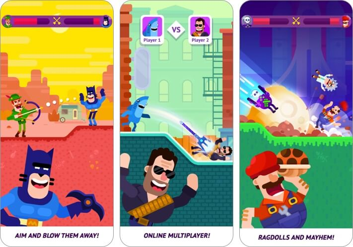 bowmasters iphone and ipad multiplayer game screenshot