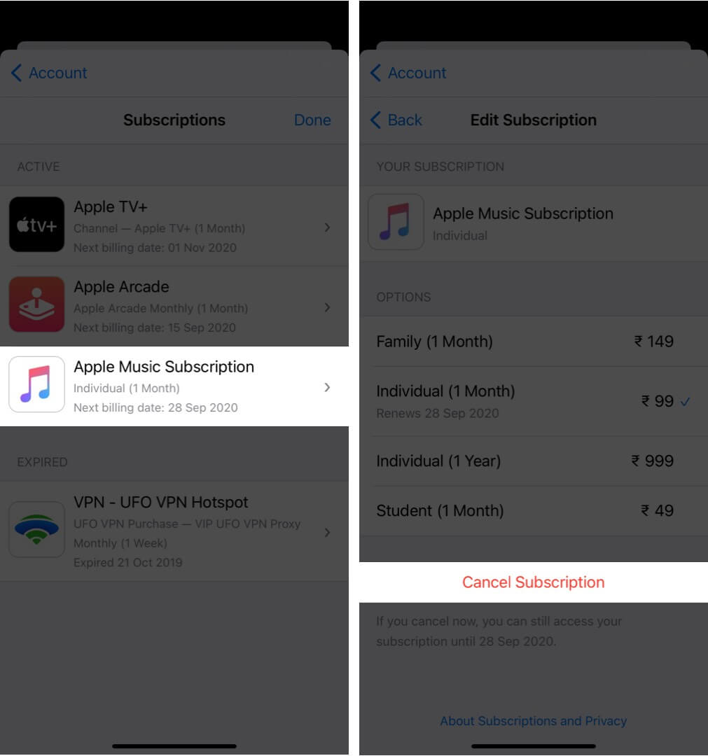 cancel apple music subscription on iphone
