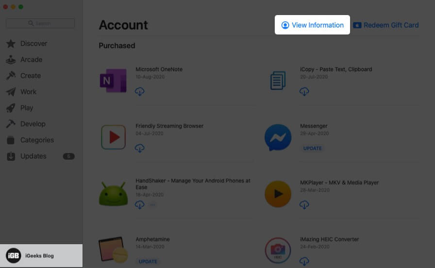 click on apple id and then click on view information in mac app store