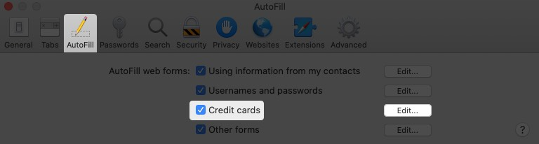 click on autofill enable credit cards and click on edit in safari preferences on mac