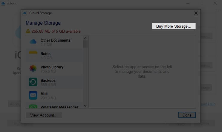 click on buy more storage in icloud on windows pc
