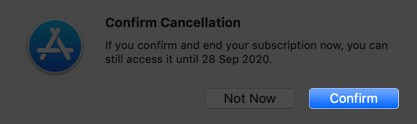 click on confirm to unsubscribe from apple music on mac