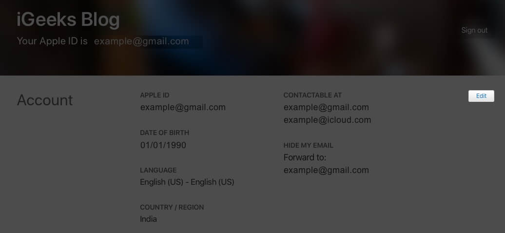 click on edit in account section on apple id website