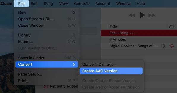 click on file select convert and click on create aac version in music app on mac