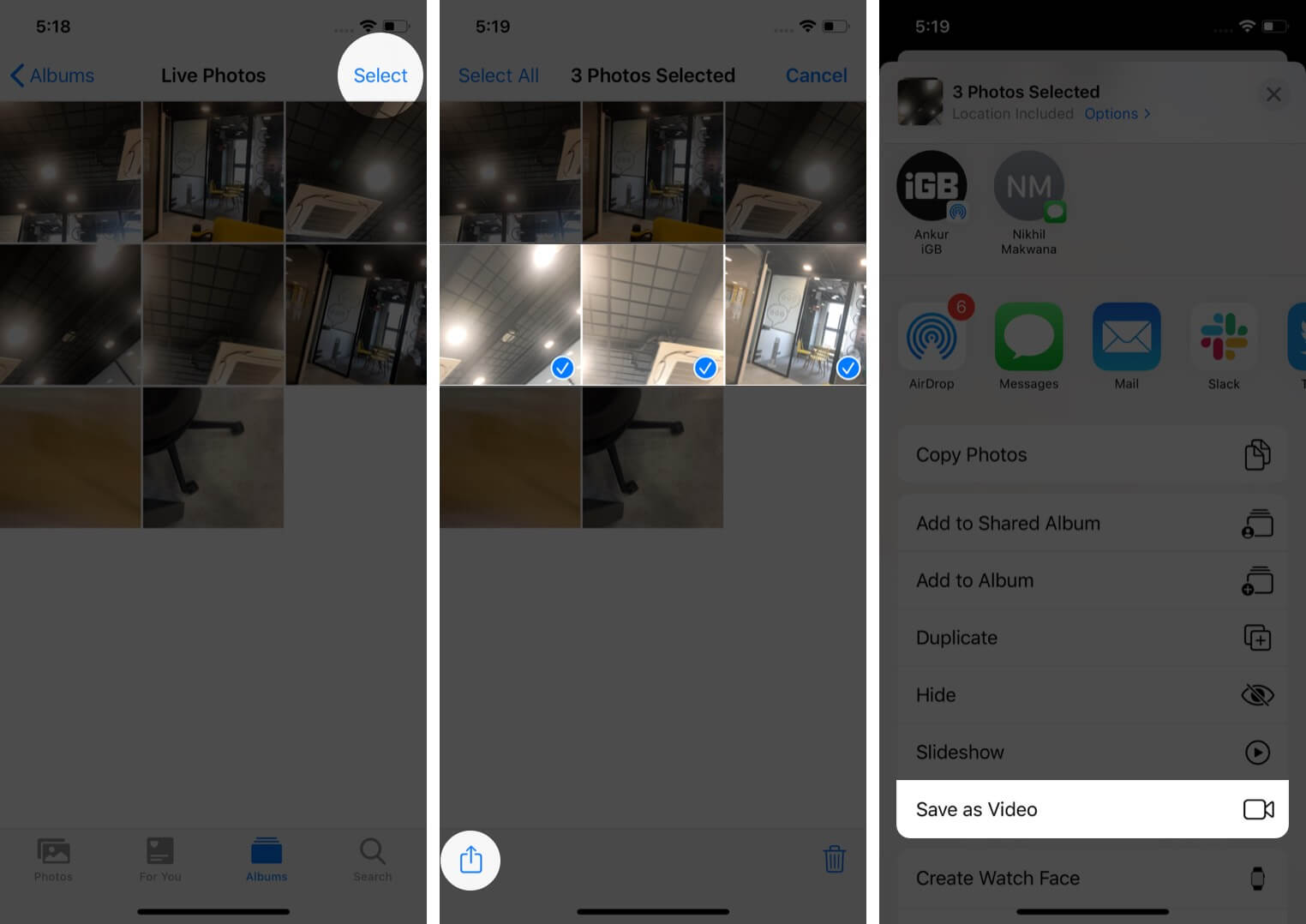 convert multiple live photos into video on iphone