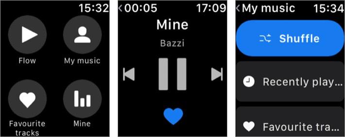 deezer apple watch music app screenshot