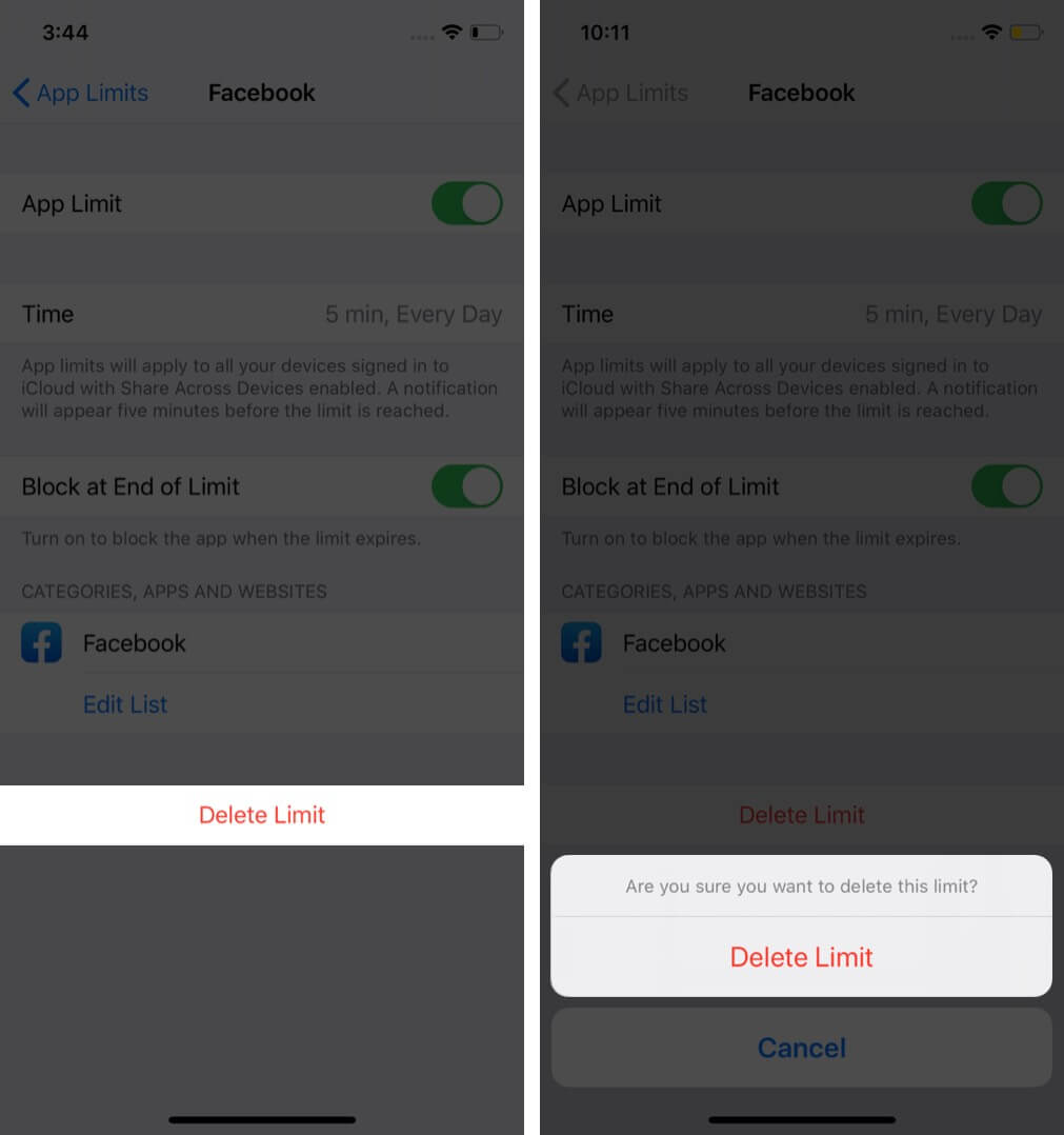 delete facebook from app limit in screen time on iPhone