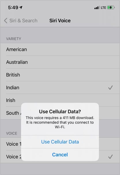 Download new Siri Voice using Wi-Fi or Cellular Data