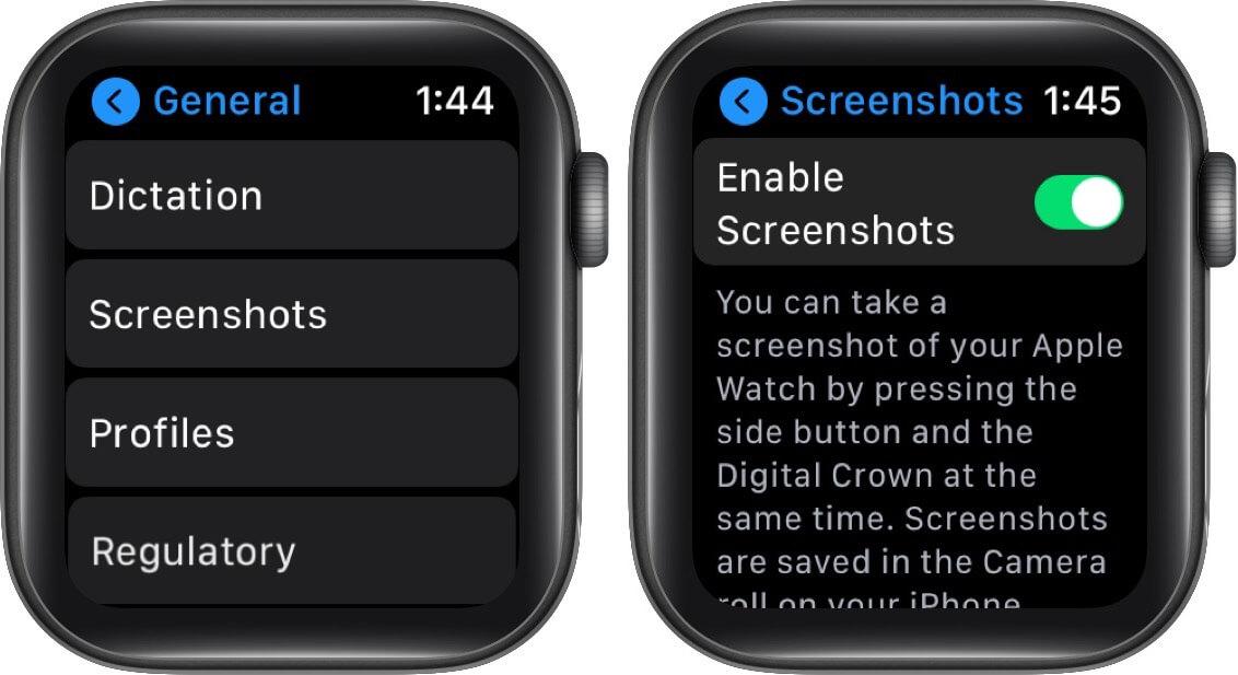enable screenshots in settings on apple watch