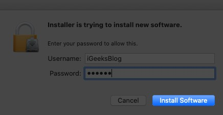 enter mac password and click on install software