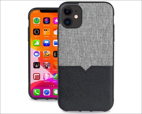 evutec leather & anti scratch fabric cover for iphone 11, 11 pro and 11 pro max