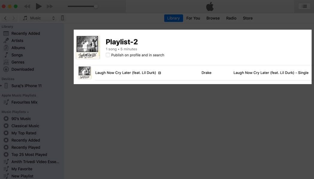 give name to create playlist in apple music on mac
