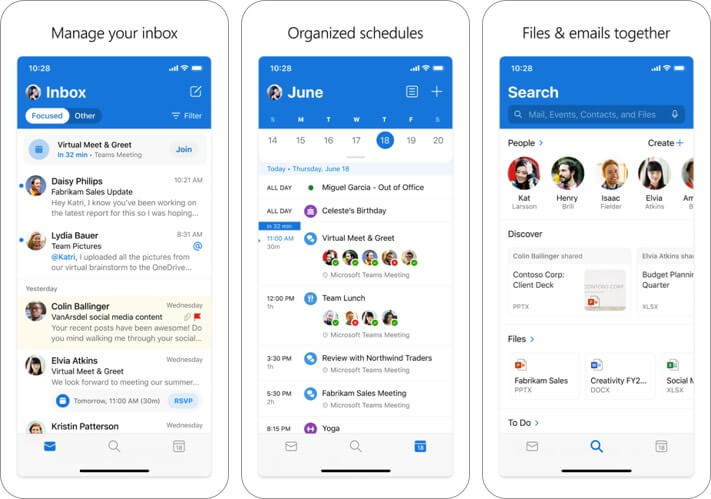 microsoft outlook iphone and ipad email app screenshot
