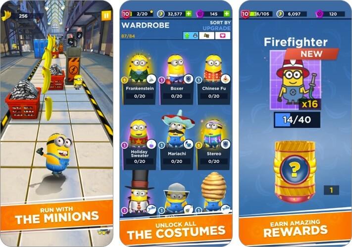 minion rush iphone and ipad kids game screenshot