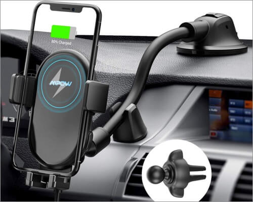 mpow wireless car charger mount for iphone 11, 11 pro and 11 pro max