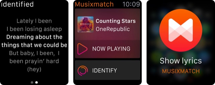 musixmatch lyrics finder apple watch app screenshot