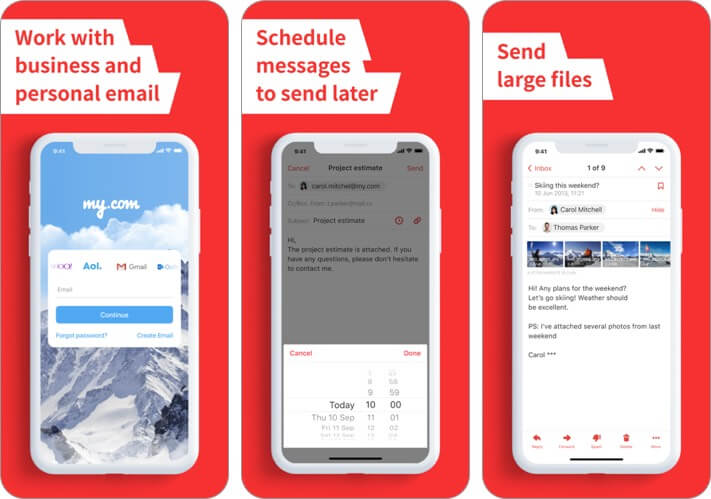 mymail iphone and ipad email app screenshot
