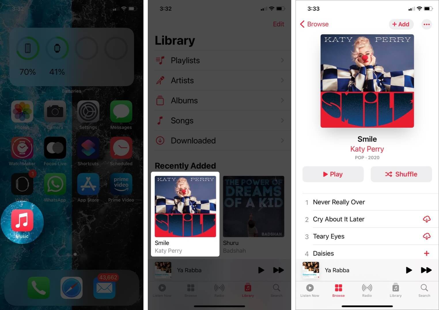 open music app and open song and long press on song on iphone