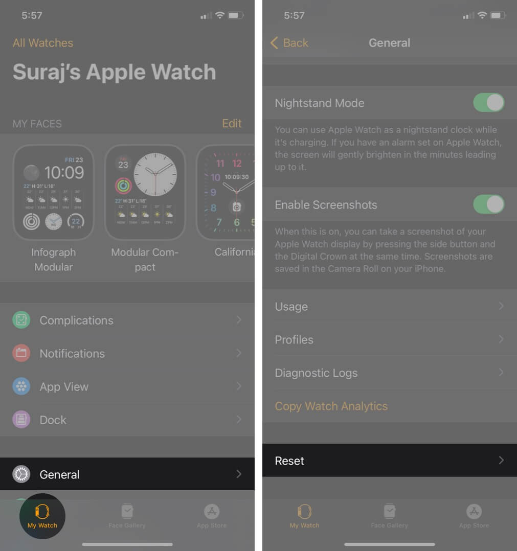open watch app tap on general and then tap on reset in my watch tab on iphone