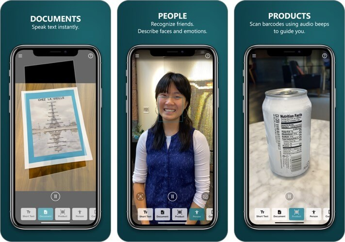 seeing ai iphone and ipad app screenshot