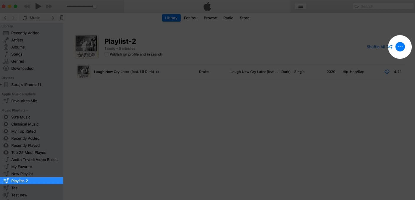 select playlist and click on three dots in apple music app on mac