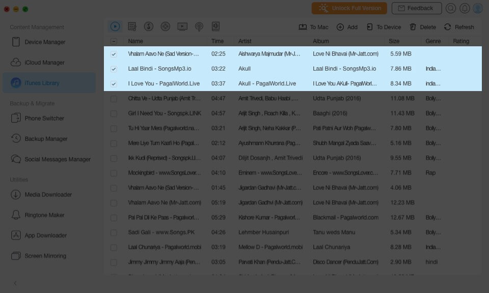 select songs in itunes library on mac