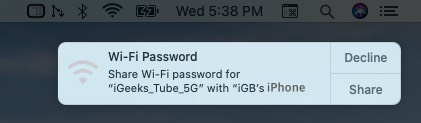 share wifi password from mac to iphone