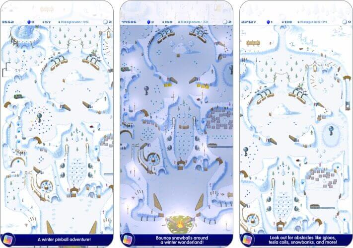 snowball game club iphone and ipad pinball game screenshot