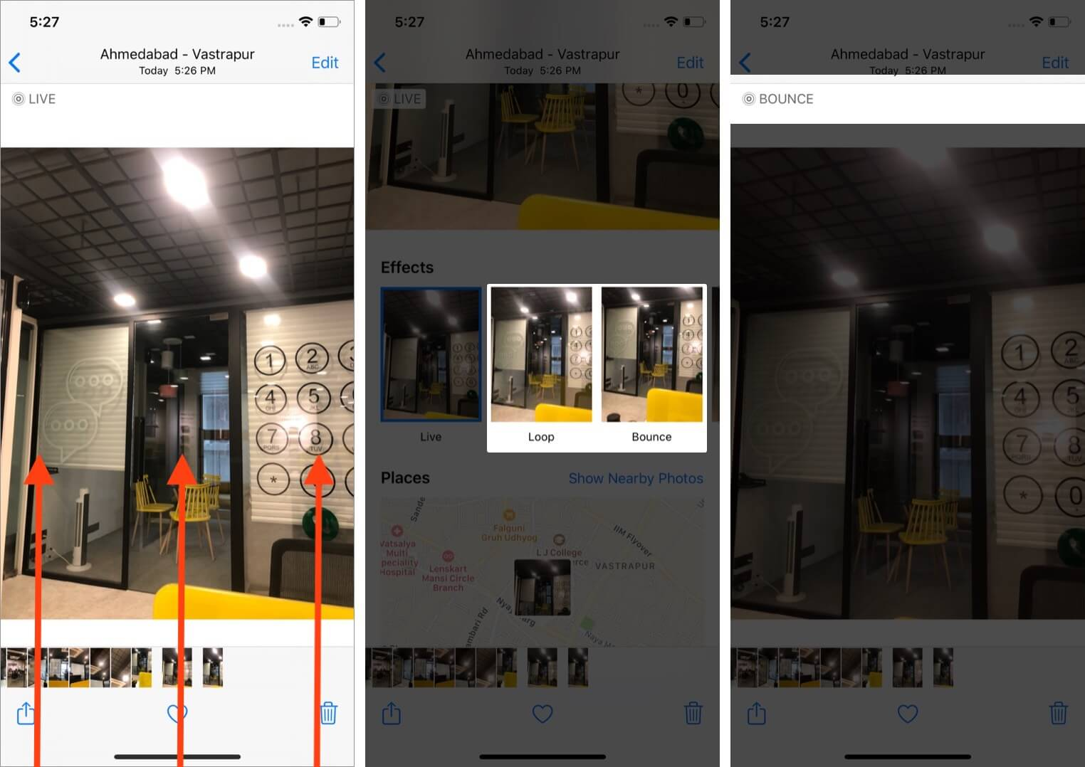 swipe up photo and select effect to turn live photo into gif using photos app on iphone