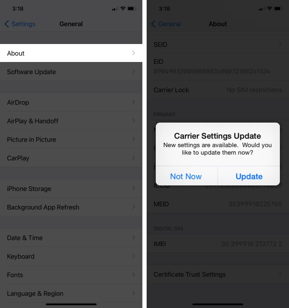 tap on about and tap on update to manually update carrier settings on iphone