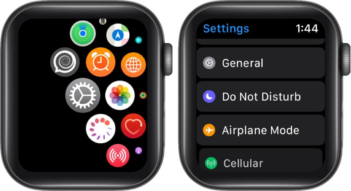 tap on settings and then tap on general on apple watch