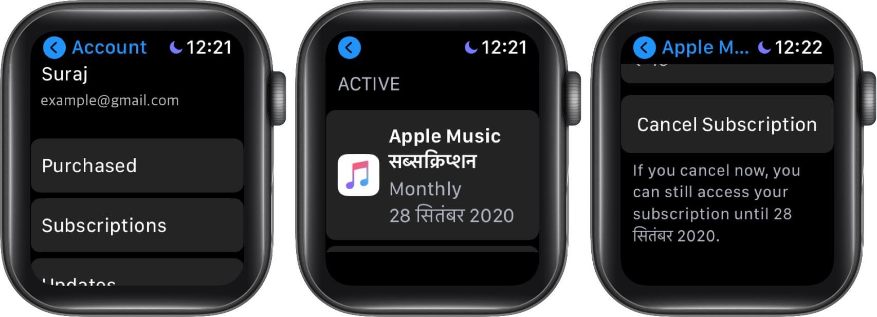 tap on subsctiption select apple music and tap on cancel subscription on apple watch