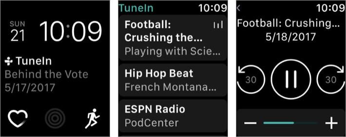 tunein radio apple watch music app screenshot