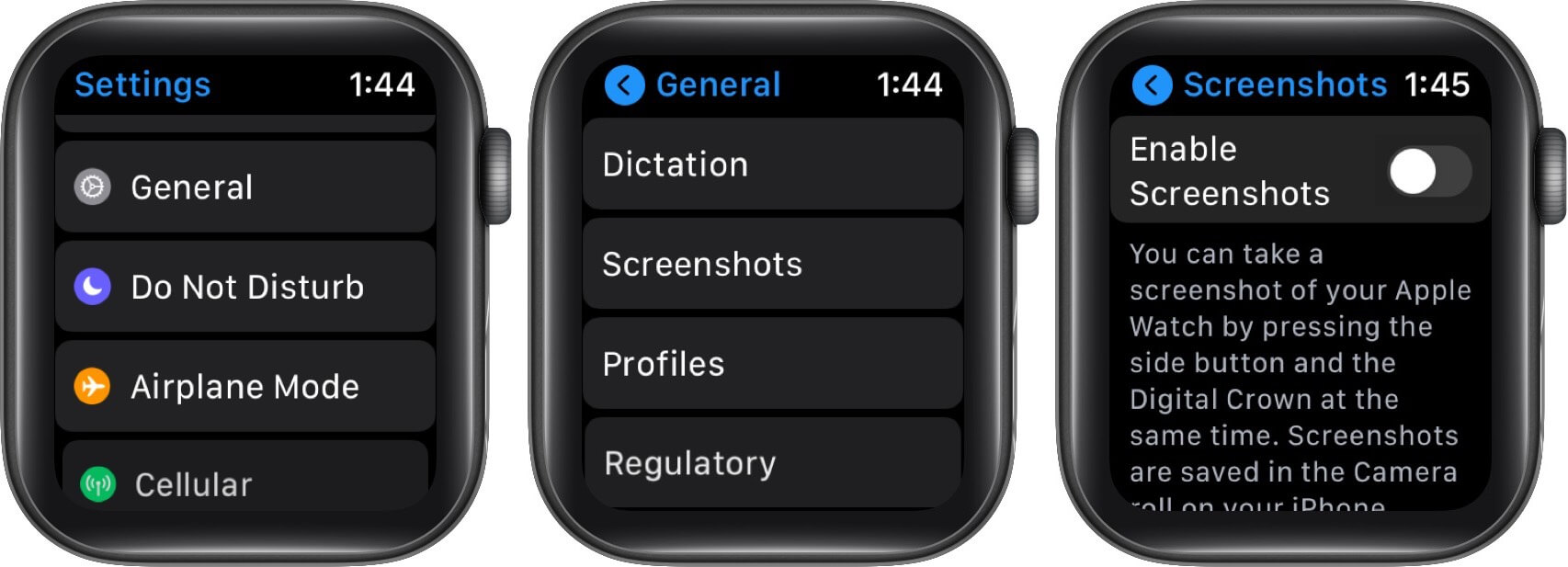 turn off screenshots on apple watch