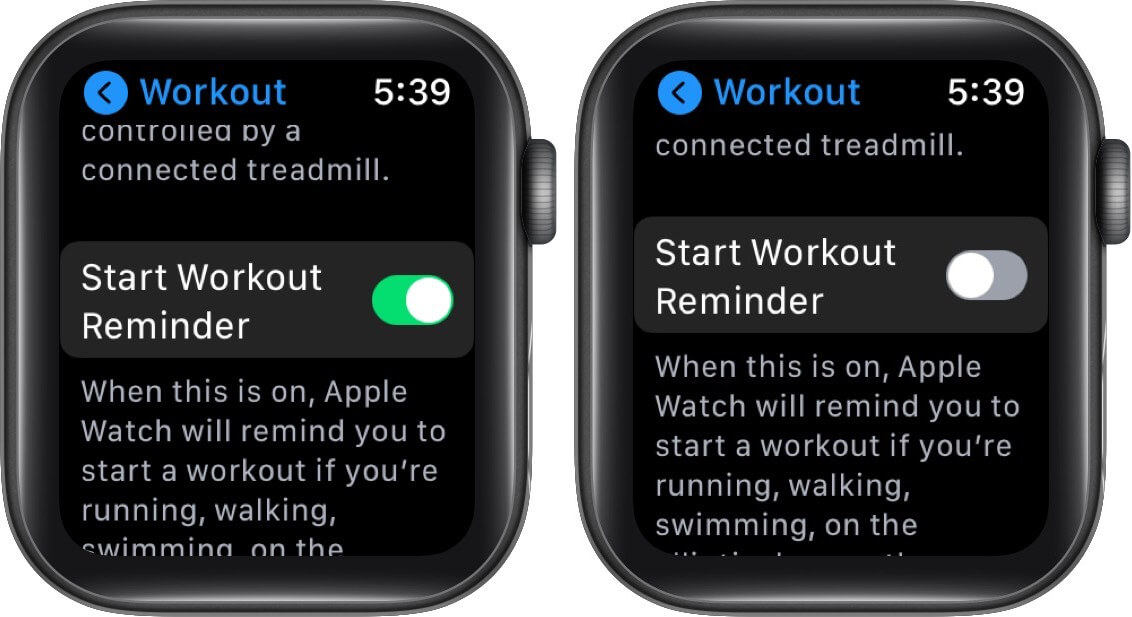 turn off start workout reminder on Apple Watch