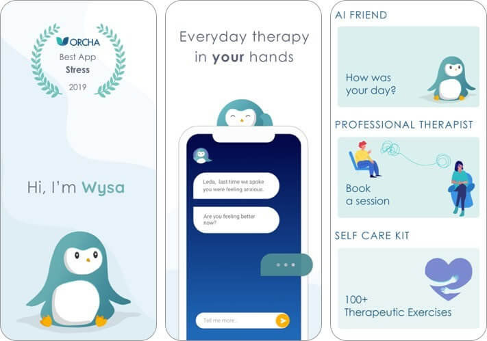 wysa: mental health support iphone and ipad ai app screenshot