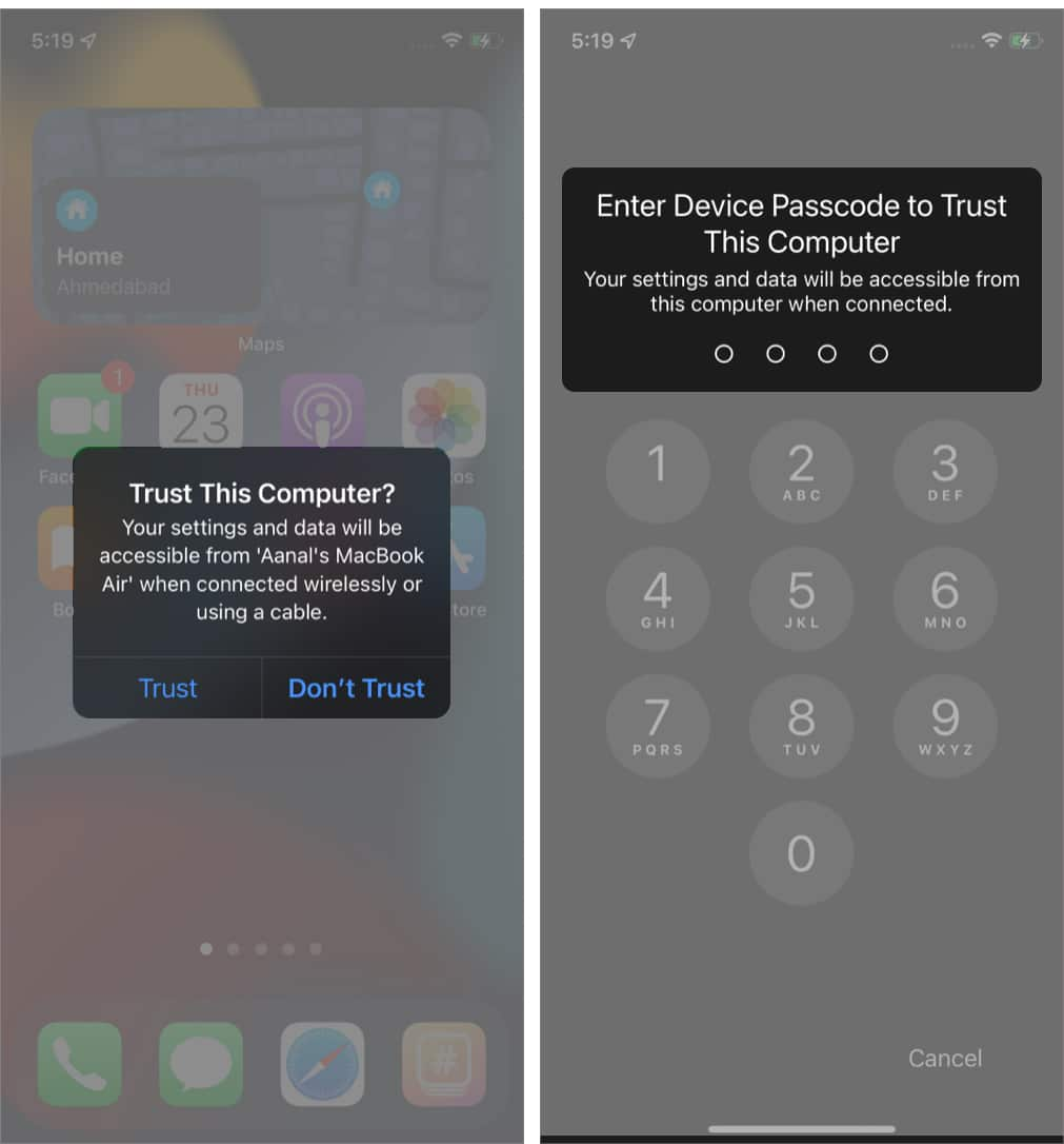 Tap Trust on iPhone and enter its passcode to update