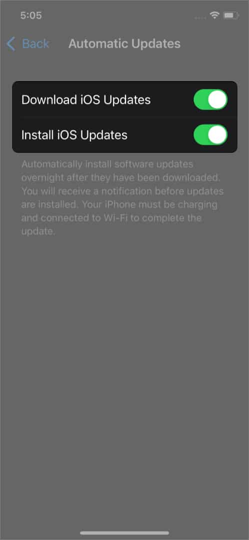 Toggle on Automatic Updates on iPhone