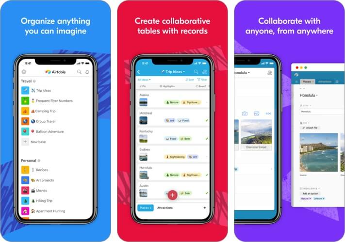airtable iphone and ipad team management app screenshot