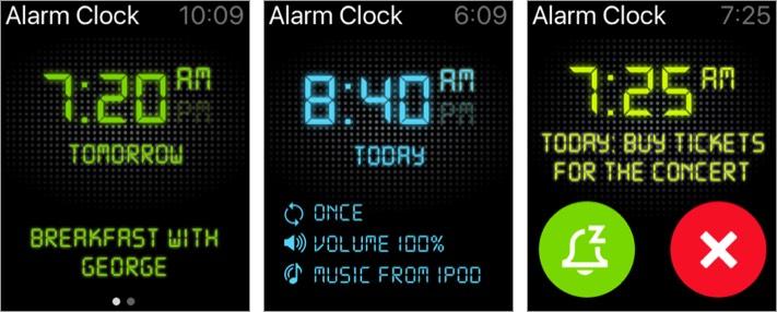 alarm clock hd apple watch app screenshot