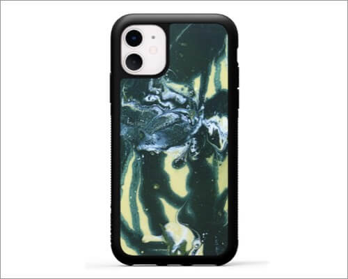 carved wooded resin case for iphone 11