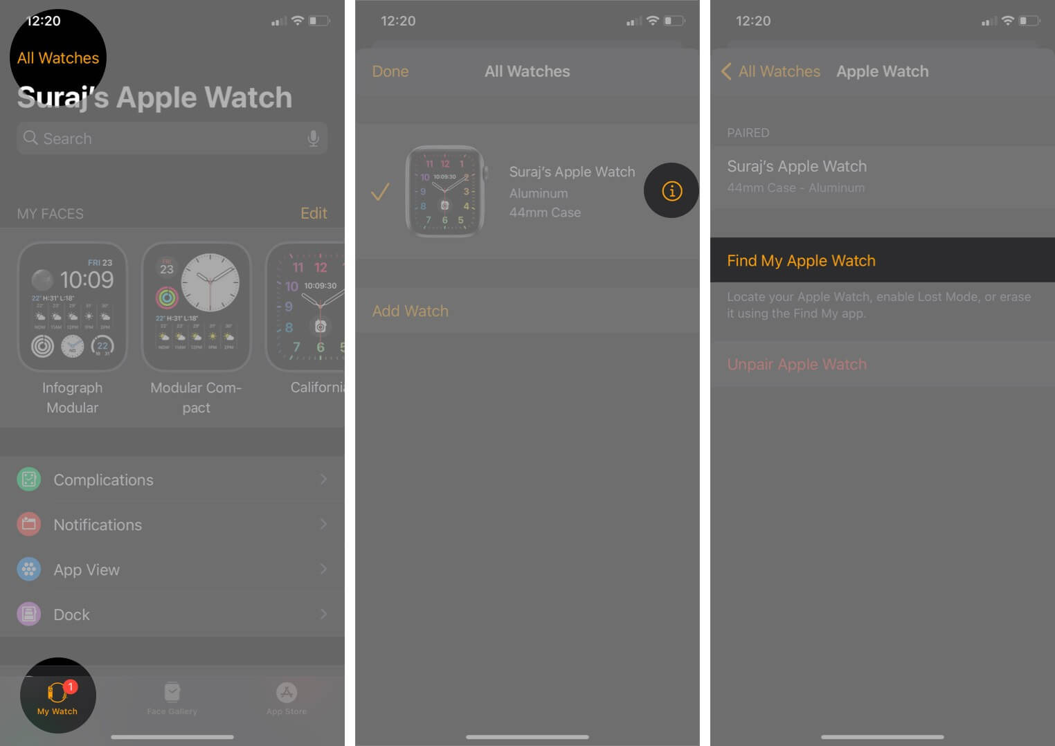 check apple watch activation lock is enabled or not using watch app on paired iphone