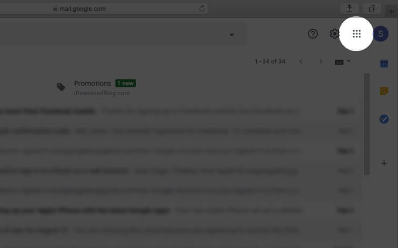 click on google apps icon in gmail account