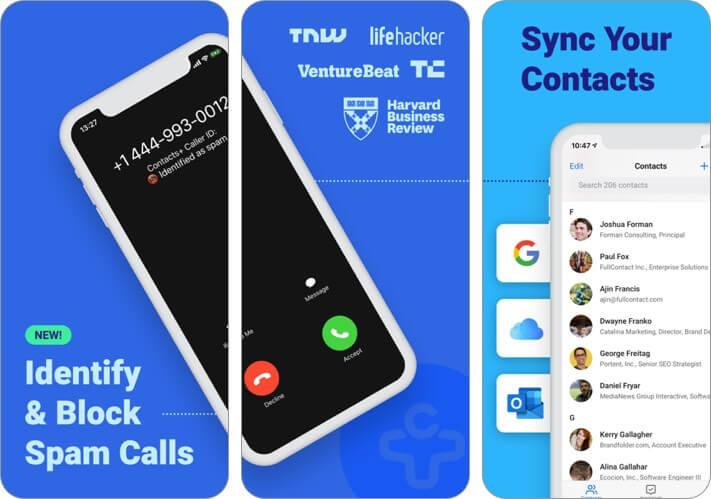 contacts+ iphone app screenshot