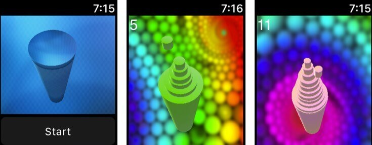 cylinders apple watch game app screenshot